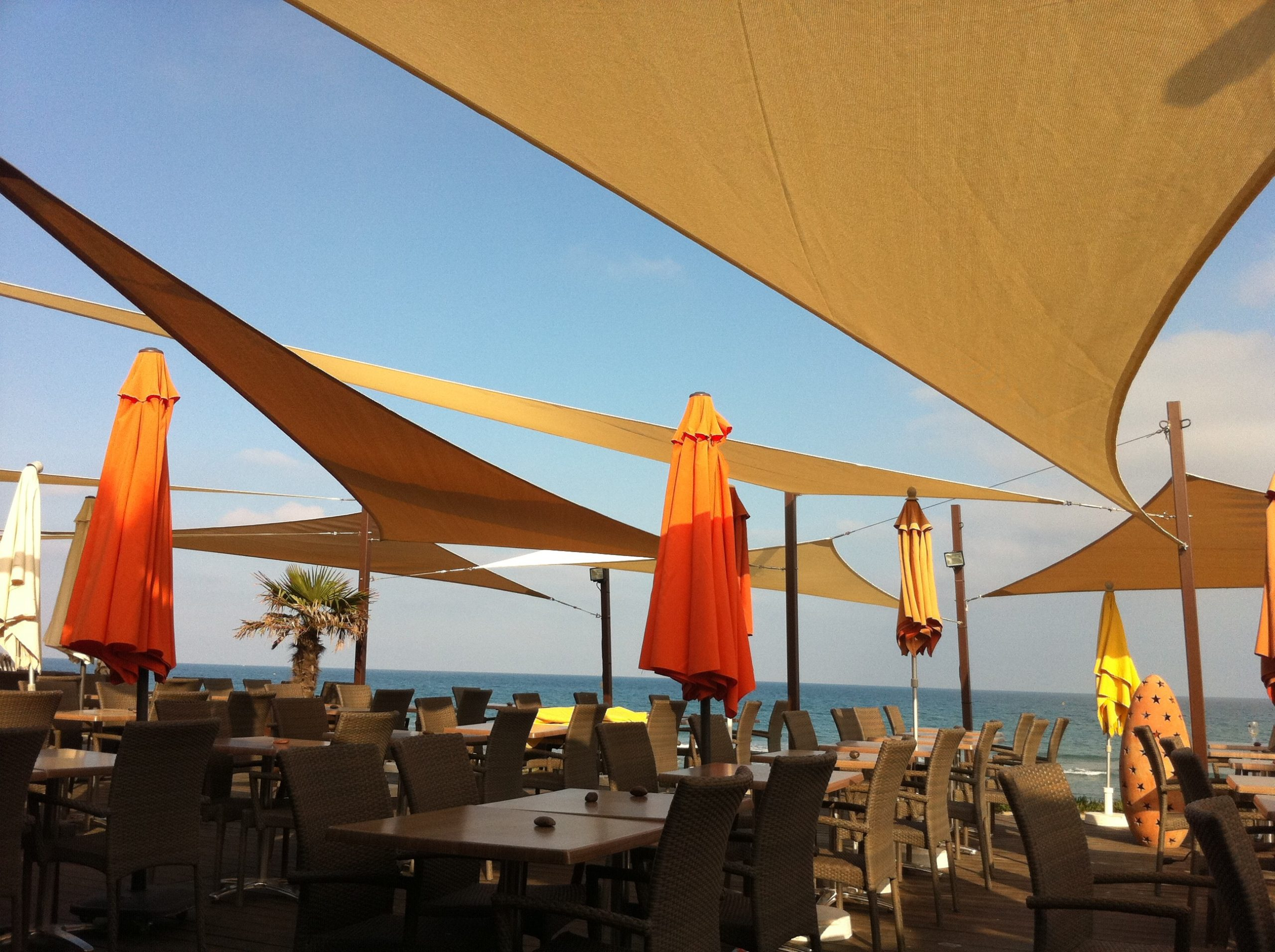 Voile d'ombrage terrasse plage